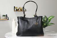 Michael Kors Lenox Large Pebbled Leather Black Carryall Tote Shoulder Hand Bag