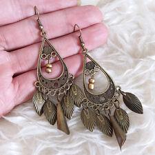 Vintage Womens Bohemian Hippies Antique Leaves Charms Dangle Drop Hook Earrings