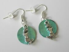 Silver Plated Tibetan Mermaid Shiny Iridescent Blue Round Shell Charms Earrings