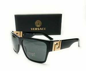 Versace VE4296 GB1 87 Black Grey Lens Men's Square Sunglasses 59mm