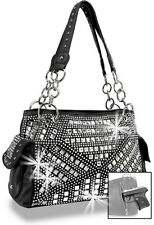 Concealed Carry Geometric Rhinestone Design Handbag Black