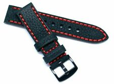 22mm Black Oily Cowhide Leather Red Thick Stitching Men Watch Band Black Buckle