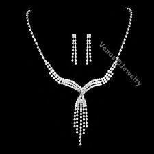 Bridal Wedding Jewelry Prom Rhinestone Crystal Necklace Earrings Set N284