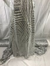 Silver Geometric Sequins Embroider On A White Mesh Lace-Prom-Dresses-By Yard.