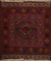 Square Vintage Geometric Traditional Oriental Area Rug Hand-knotted Wool 4x4 ft