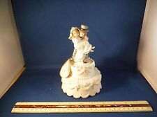 New Lefton China Wedding Couple Cake Topper Music Box