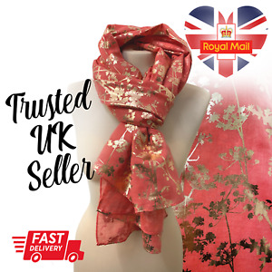 Lady Womens Long Coral Gold Flower Floral Print Scarf Light Scarves Wraps Shawl
