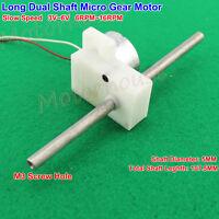 Long Dual Shaft Micro Gear Motor DC 3V 5V 6V 16RPM Slow Speed DIY Model Toy Car