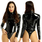 Womens One-piece Bodysuit Shiny Metallic Leotard Patent Leather Jumpsuit Unitard