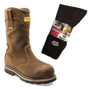 Buckbootz B701SMWP Waterproof Safety Rigger Boots Brown & 1 Pair of Socks