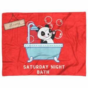 Small Fleece Blanket - Panda Bath Night - Red Microfiber Thick Lush Cover Velvet