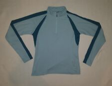 Spyder Size 10 Womens Athletic Top Pullover Long Sleeve 1/4 Zip Aqua Blue Shirt