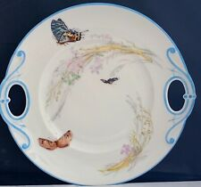 """STUNNING HAVILAND LIMOGES RETICULATED SERVING/CAKE PLATE MEADOW VISITOR BLUE 10"""""""