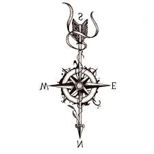 Kompass Einmal Tattoos Temporäre Tattoo Body Sticker Seemann Farbe 21x11cm