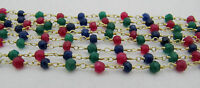 10 Feet AAA Quality Ruby Emerald Sapphire Rosary 3-4mm Wire Wrap Beaded Chain