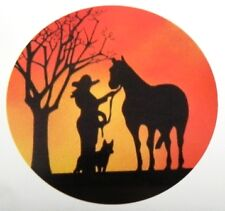 COWGIRL  HORSE & DOG, SUNSET**STUNNING** CAR  DECAL / STICKERS