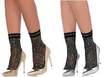 Leg Avenue, Gold or Silver Lurex Anklets W/Contrast Stripes, Glitter Pop Socks