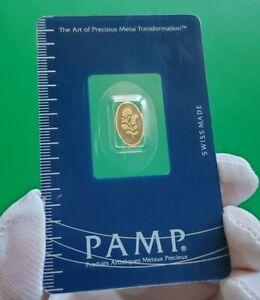 RARE - Pamp Suisse Rosa Rose Oval - 1 Gram 999.9 Fine 24k Gold Bar Assay #000661