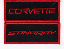 2 BLACK RED CHEVY CORVETTE STINGRAY SEW/IRON ON PATCH EMBLEM BADGE EMBROIDERED