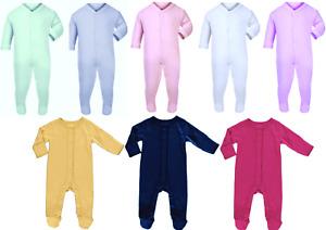 Baby Boys/Girls Babygrows Sleepsuits Plain Chest Playsuits Bodysuit 100% Cotton
