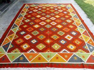 Kilim Old Traditional Handmade Oriental Red Blue Wool Kilim 240x300cm