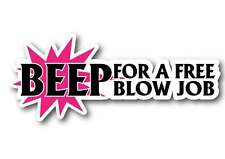 Beep for a free blow job sticker  for your mates cars after the pub prank joke