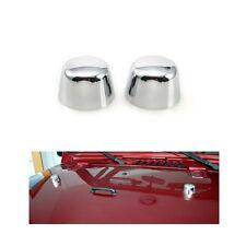 2x Chrome Silver Hood Footman Loop Cover for 07-17 Jeep Wrangler JK 2/4 Door