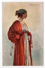 RUSSIE Russia Théme Types russes costumes personnages femme illustrateur 1910