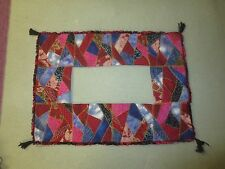 """Hand Crafted Lined CRAZY QUILT FRAME or RUNNER w/Tassels  - 23.5"""" x 17.5"""""""