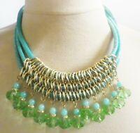 collier rétro couleur or pampille perle de verre bleu corde effet brillant C1
