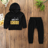 2PCS Toddler Baby Boys Clothes Casual Letter Print Hooded Tops+Pants Outfit Set