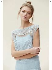 NEW Anthropologie Amelia Crochet Fringe Maxi Dress Size Small Blue