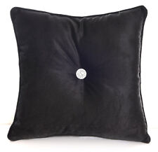 Chenille Black Cushions Luxury Diamante Centre Filled Scatter Cushion Square