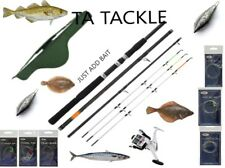 Sea Fishing Travel Set Up 4 Piece Rod & Reel With Deluxe Case Carryall + Tackle