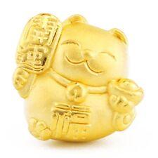 Pure 999 24K  Yellow Gold Bead 3D Lucky 福 Bless Plutus Cat Pendant / 1.2-1.4g