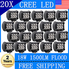 20X 4inch 18W CREE Flood LED Light Bar Off Road Work 4WD Truck 12V 24V TOYS777