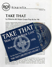 """TAKE THAT """"HOW DEEP IS YOUR LOVE"""" PROMO CD SINGLE+SPANISH PRESS INFO / BEE GEES"""