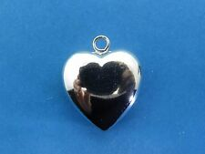 Vintage sterling silver PUFFY PUFF HEART charm FOR BRACELET NEW OLD STOCK #2 #M