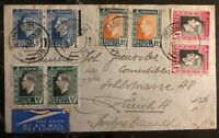 1937 Johannesburg South Africa Airmail Cover To Zürich Switzerland #83-86