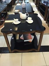 End Coffee Table with Black Glass in Brown Walnut Stunning Modern Lamp Table