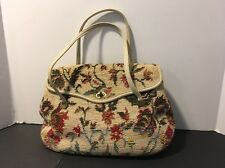 CARPET Tan/floral Needlepoint BAG PURSE W Inside Zipper Leather Straps