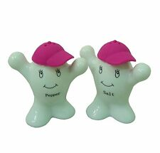 Ceramic White Salt & Pepper Shaker People with Hats ~ Cruet Set ~ PINK Hat 22034