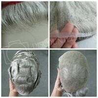 Mens Fine Swiss Lace Toupee Hair Piece Hair Replacement System Human Grey #1B80