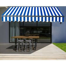 ALEKO Black Frame Retractable Home Patio Canopy Awning 13 x 10 ft Blue/White