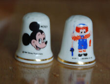 2 vintage Radnor thimbles - DISNEY MICKEY MOUSE + RAGGEDY ANDY 1970s