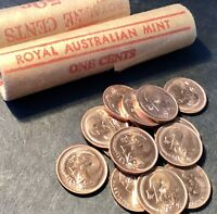 1966 1 Cent Australian Decimal Coin x1 From Mint Roll. Almost Uncirculated aUnc.