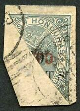 British Honduras SG35a TWO on 50c on 1/- Grey Bisected on piece
