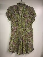 Vintage 1930's Floral  Lilac & Chartreuse Silk Crepe Top Mini Dress Small