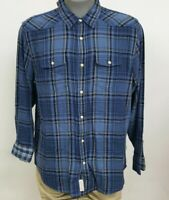Flag & Anthem Navy Plaid Snap Front L/S Men's Shirt NWT $59.50 Choose Size