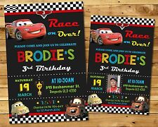 CARS PERSONALISED INVITATION BIRTHDAY PARTY SUPPLIES ANY AGE LIGHTNING MCQUEEN